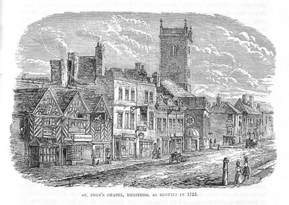 A conjectural view of Deritend Chapel after 1735 scanned from R K Dent Old & New Birmingham 1880 by sally_parishmouse on Flikr. See Acknowledgements.