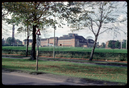 King Edward VI Grammar School viewed from the Bristol Road. Photograph by Phyllis Nicklin - date unknown - 1960s?