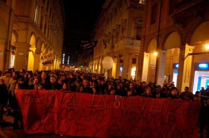 Occupy-bevægelsens demo i Bologna, den 11.november 2011