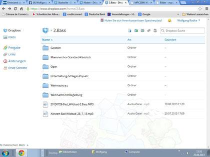Dropbox Dateien für die Stimmen des Chores, anklicken - vergrößern, verkl. <Esc>