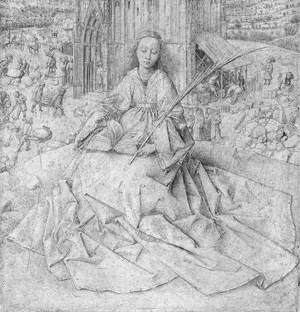 Ян ван Эйк. Св. Варвара (черно-белый фрагмент)
