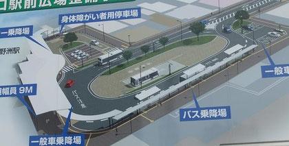 野洲駅南口改良計画の広告板より