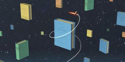 La aventura del saber - cohete y libros