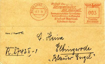 Die Firma Adelbert Martinek warb in ihrem Absender- Freistempel für die Schönheiten des Harzes, Hermannshöhle, Heimkehle und Barbarossahöhle (Kyffhäuser).