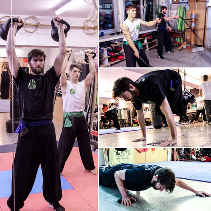 Collage zum Krafttraining in der Jing Wu Kung Fu Schule Köln