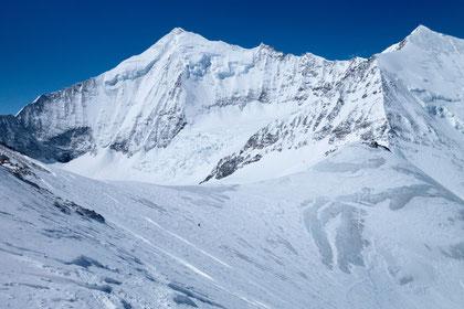 Skitour, Skihochtour, Turtmanntal, Brunegghorn, Turtmannhütte, Weisshorn, Weisshorn Nordostwand