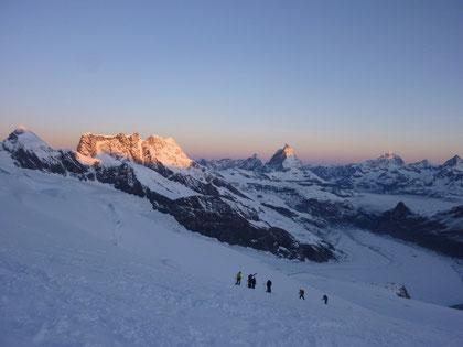 Morgenstimmung, Dufourspitze, Pollux, Breithorn, Matterhorn, Dent Blanche
