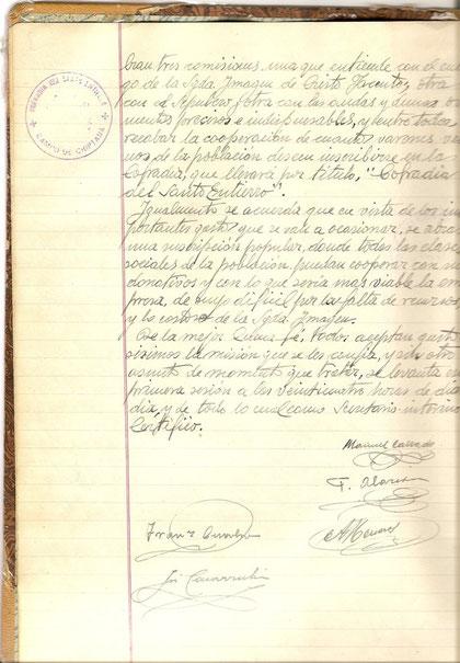 Final del acta de constitución de la cofradía con el estampado de las firmas