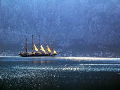 AN ANCIENT VESSEL ENTERING THE BAY OF KOTOR