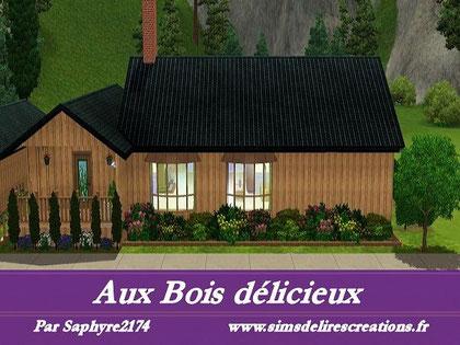 simsdelirescreations Sims sims3  moderne aux bois délicieux maison creation saphyre2174