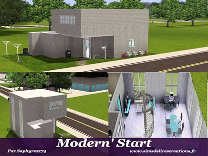 simsdelirescreations Sims sims3  moderne start maison creation saphyre2174