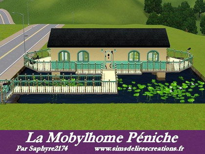 Simsdelirescreations Sims sims3 mobylhome Péniche maison creation saphyre2174