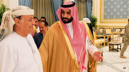 Am Tag des offiziellen Kriegsbeginns: 26.03.2015 - Jemens Präsident Abed Rabbo Mansour Hadi (li.) mit Saudi-Verteidigungsminister Mohammed bin Salm (Quelle: MPN-News)