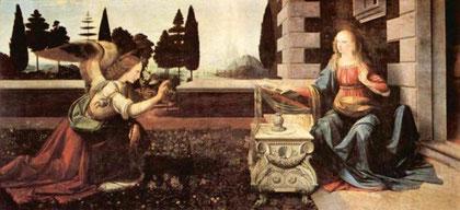 """L'Annunciazione Opera di Leonardo da Vinci """" Uffizi di Firenze """""""