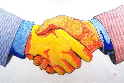 #bussines hand shake#handschlag#uscisk dloni#stamp art#stempelbild#stempelkunst