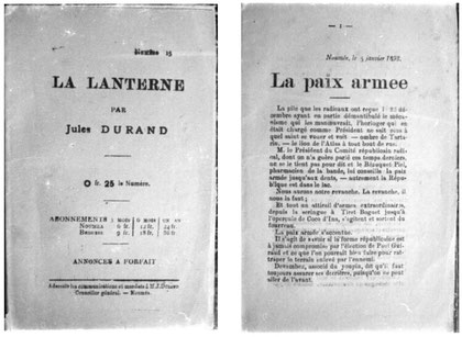 La Lanterne, de Jules Durand ; couverture et première page du numéro 15.