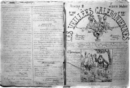 LES VEILLÉES CALÉDONIENNES (huitième page du n°1 et première du n°2, du 14 juin 1877)