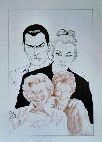 Diabolik ed Eva insieme alle loro due mamme, in un disegno di Facciolo