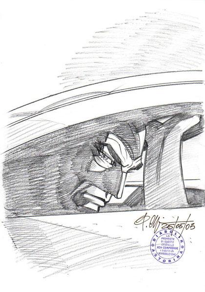 Diabolik esce da un tombino: un disegno a matita originale che l'autore mi ha regalato