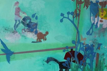 """Wer ist das Baby?"" Acryl/Collage/Leinwand 60x80 2019"