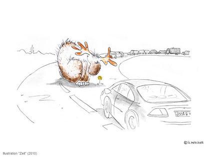 """Illustration """"Zeit"""" Elch Hannes Mercker"""