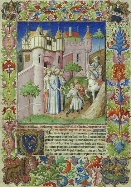 Comment les deux frères se partirent de Constantinople pour chechier du monde (sic).  Miniature du Livre des Merveilles, manuscrit du quatorzième siècle.