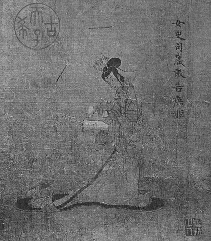 Kou K'ai-tche. IVe siècle. L'institutrice de la cour écrivant son livre. Long. du rouleau 133 cm., larg. 74 cm.