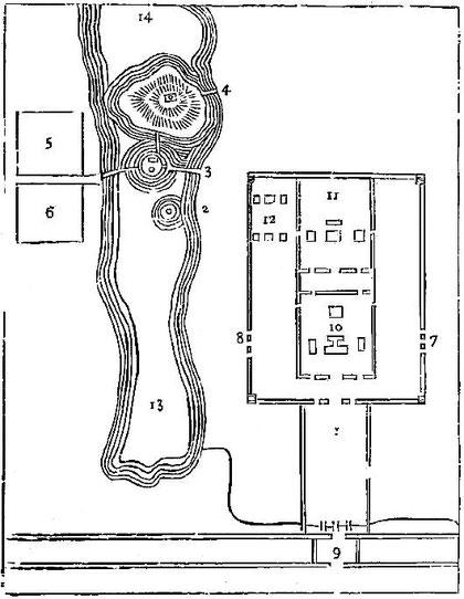 Plan du palais de Che-tsou à Kambalick, d'après Bretschneider.