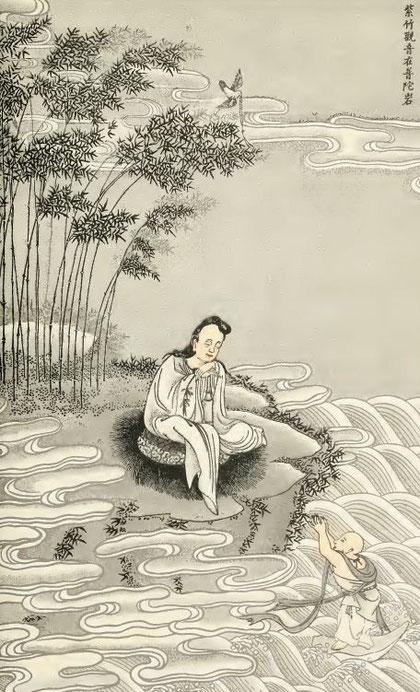 Le tableau fameux de la Koan-yng aux bambous, dans l'île de P'ou-t'ouo.