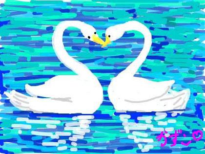 ハートの白鳥