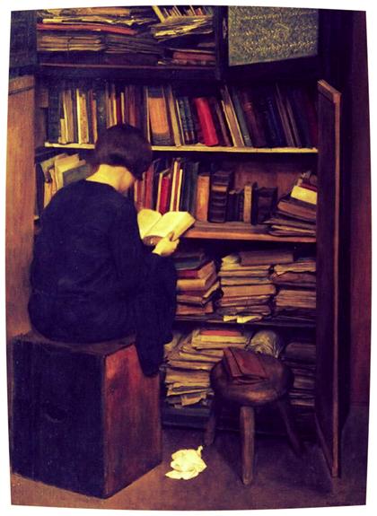 """F. Frotzel, """"Der alte Bücherkasten"""" (1929)"""