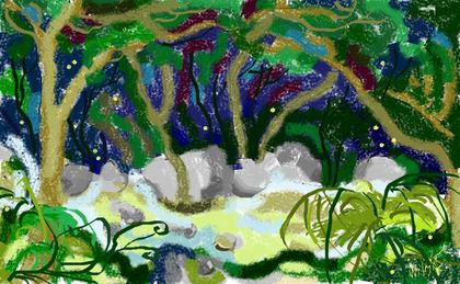 2a passeggiata - La melodia del torrente - disegno di Wilma Camatti