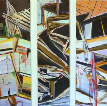 Tohuwabohu, Acryl auf Leinwand (Triptychon) je 100x30