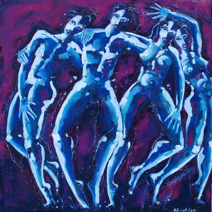 Dancing violet 2011 130x130cm Oil on canvas available