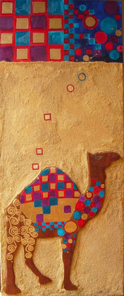 Near East Coloured Camel 2008 Oil,sand wood on canvas 120x50cm