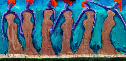 African wild copper fashion 2011 Oil,copper,sand,grass on canvas 92x190cm.