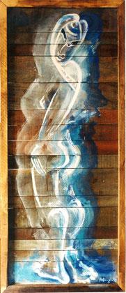 Doruma Blue 2002 oil on panel 112x46cm. AVAILABLE