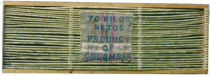 Product of Colombia 2000 Mixed media on bamboo and canvas 75x225