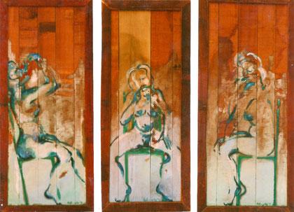 Girl friend 1998 Oil on panel 105x47cm each