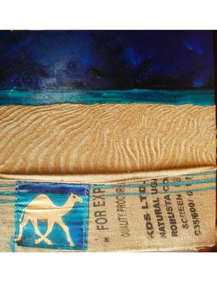 Robusta camel 2008 Oil,sand,sac on canvas 120x120cm