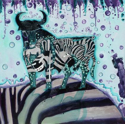 Zebra Move 2013 Oil,silver on canvas 80x80cm
