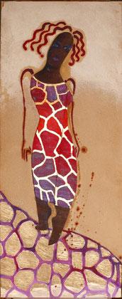 Giraf 2010 Oil,sand,panel on canvas 100x50cm.