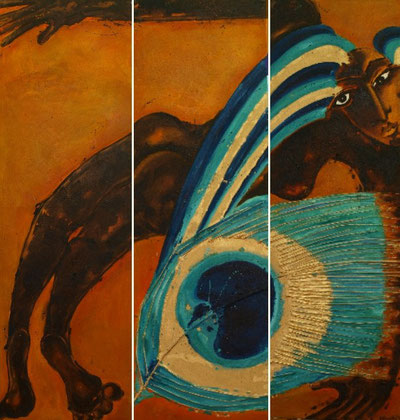 Angel 1972-2010 Oil sand gold on canvas Triptych 165x165cm