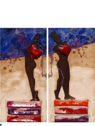 Inquietante 2012 Oil,sand,acrylic glass,wood,on canvas Diptych 100x50cm each nr 2 AVAILABLE