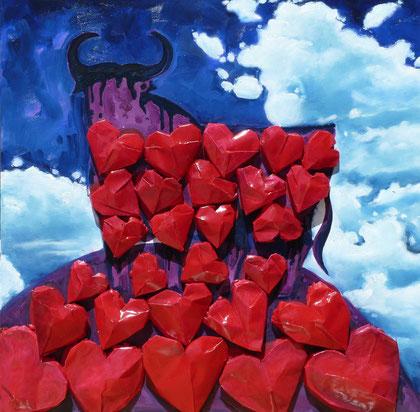 Heartbeat 2013 Oil,vegetal paper,LEDS on canvas 80x80cm AVAILABLE