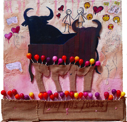 Unlimited Chupa Chups Love Letter 2013 Marble,Oil,Sac,wood on canvas 80x80cm