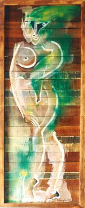 Gula Green 2002 Oil on panel 112x46cm.