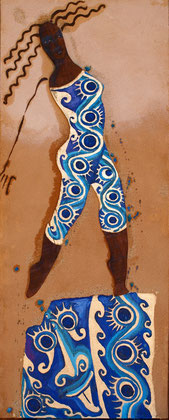 African fashion 2010 Oil,sand panel on canvas 100x51cm. AVAILABLE