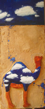 Cloudy Camel 2008 Oil,sand wood on canvas 120x50cm
