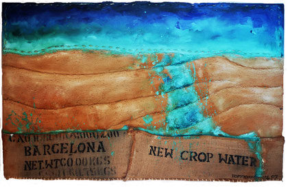New crop water 2007. Mixed media on sac and canvas.81x130cm.AVAILABLE